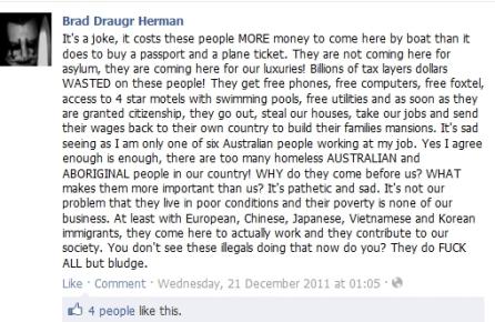 Brad Draugr Herman hates asylum seekers