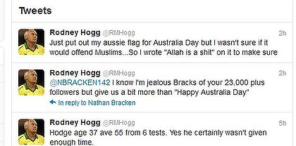 Rodney Hogg anti-Muslim comment