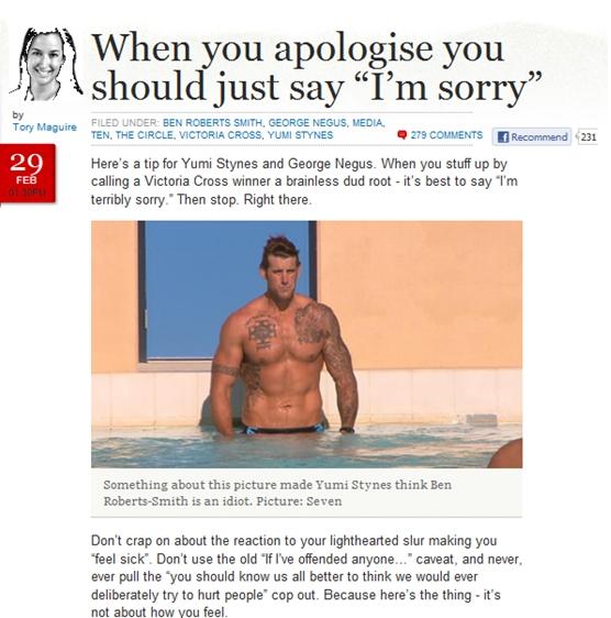 When you apologise